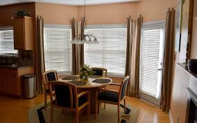 kitchen bay window decorating ideas bay window curtain ideas i love the way this nook is set up with