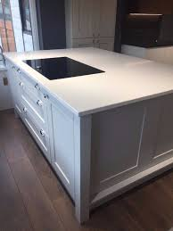 reduced ex display kitchen island in light grey with quartz