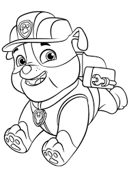 paw patrol rubble backpack coloring free printable