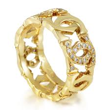 golden ferrari with diamonds c de cartier 18k yellow gold diamond band ring