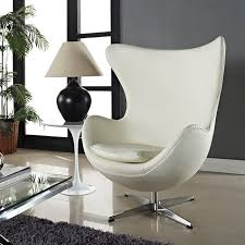White Leather Accent Chair Modern Classic Egg Chair At Mlf Presents You The Midcentury