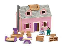 amazon com melissa u0026 doug fold and go wooden dollhouse with 2