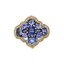 tanzanite diamond 14k yellow gold indian inspired cocktail ring