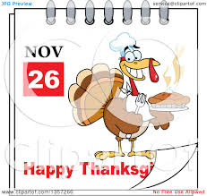 clipart of a november 26th happy thanksgiving day calendar with a