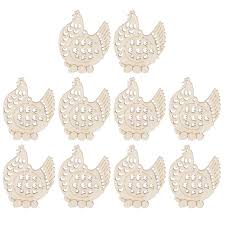 easter ornaments 10pcs easter ornaments wooden hanging hens decorations with hemp