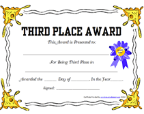 award certificate samples free printable 3rd third place award certificate templates