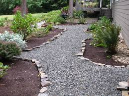 crushed stone pathway on hill crushed rock landscaping ideas