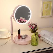 Lighted Desk Usb Led Lighted Makeup Mirror Wide View Rotatable Adjustable Stand