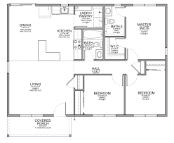 floor plan for small 1200 sf house with 3 bedrooms and 2