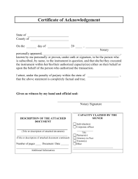 printable certificate of acknowledgement legal pleading template