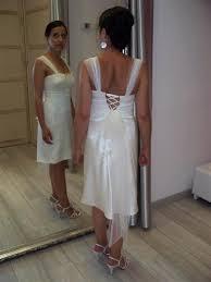 robe pour mariage civil robe de mariee sur mesure courte en satin de soie et organza avec
