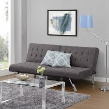 Futon Coffee Table Furniture Grey Linen Upholstered Tufted Click Clack Futon Chrome