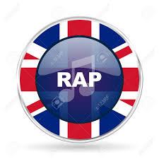 Great Britain Flag Rap Music British Design Icon Round Silver Metallic Border