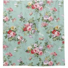 Vintage Floral Curtains Vintage Pink Roses Flowers Pattern Shower Curtain