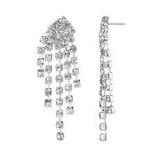 silver dangle earrings for prom fancy rhinestone silvertone prom jewelry set