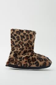 animal print faux fur slipper boots just 5
