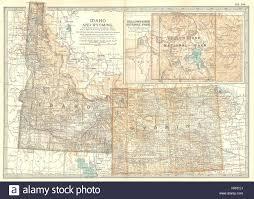 Idaho Counties Map Idaho U0026 Wyoming State Map Showing Counties Inset Yellowstone