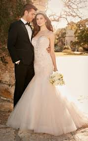 fit and flare wedding dress with tulle skirt essense of australia