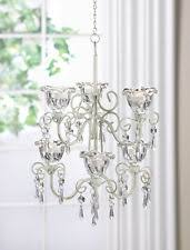 Ivory Chandelier Crystal Blooms Distressed Ivory Metal Tealight Candle Chandelier