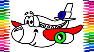 how to draw aeroplane coloring pages kids learn drawing art
