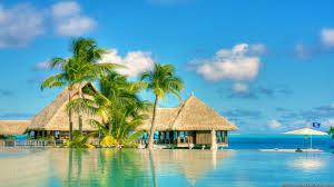 beaches summer tropical bungalows beaches oceans sky clouds