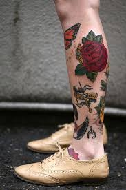 butterflies and red rose tattoo on leg tattoomagz