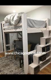 Bunk Beds Chicago Loft White Wash Shelf Steps Any Height Clearance