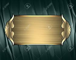 Gold Nameplate Design Template Green Texture With Gold Nameplate And Gold
