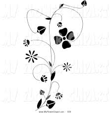 clip art of a growing black vine with delicate blooming flowers