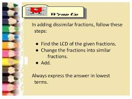 ppt addition of dissimilar fractions loids