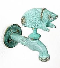 ornamental garden tap hedgehog verdigris co uk diy