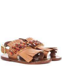 marni embellished leather sandals brown women marni bryson outlet