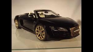 Audi R8 Gold - audi r8 v10 spyder phantom black kyosho 1 18 24 karat gold plated