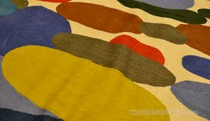 Modern Green Rugs by Color Oval Swatch Wool Rug Wall Tapestry Hand Embroidered 6ft X