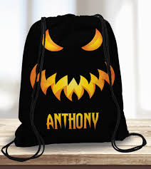 halloween treat bag spooky monster face personalized trick or
