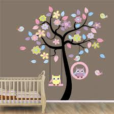 Removable Wall Decals For Nursery by Huge Cute Owl Bird Swing Flower Tree Wall Stickers Art Decal Kids