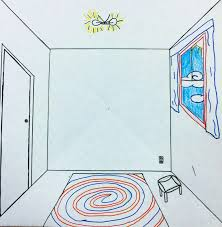 the helpful art teacher draw a surrealistic room in one point
