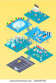 floor plan of a shopping mall shopping mall isometric infographics template floor stock vector