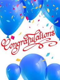 congratulatory cards blue balloons congratulations card here come the congratulations