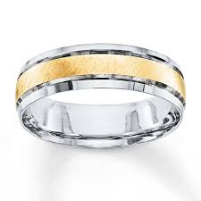 mens two tone wedding band jared men s wedding band 10k two tone gold 6mm