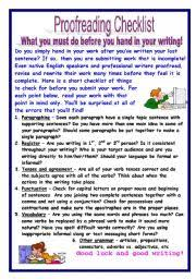 Editing And Proofreading Worksheets Worksheet Proofreading Checklist