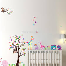 popular tree decal for nursery buy cheap tree decal for nursery large size monkey zebra lion wall stickers diy decorative cartoon tree wall decals for nursery baby