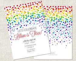 rainbow confetti birthday invitation printable rainbow