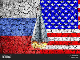flag russia usa painted on cracked image u0026 photo bigstock