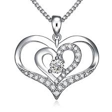 diamond charm necklace images Liloing forver love heart pendant necklace double jpg