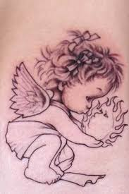 black ink baby angel with sun tattoo design