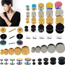 ear piercing studs 2pcs mens barbell 6 14mm stainless steel ear studs