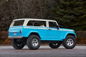 lowered jeep wagoneer jeep chief this wrangler based concept is inspired by the 1970s
