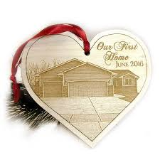 our first home christmas ornament laser engraved wood heart