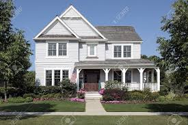 House With Front Porch by Home In Suburbs With Flowers And Front Porch Stock Photo Picture